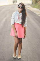salmon skater Forever 21 skirt - light pink bubble Charlotte Russe necklace