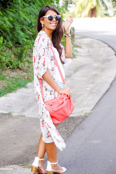 white cat eye sunglasses - light pink floral kimono LA hearts cardigan