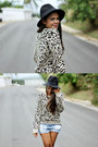 Black-forever-21-hat-tan-leopard-print-kirra-sweater