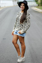 tan leopard print kirra sweater - black Forever 21 hat