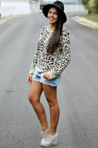 tan leopard print kirra sweater - black Forever 21 hat