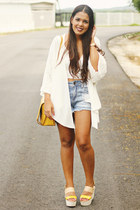 Zara bag - denim shorts - crop Zara top - beaded kimono Zara cardigan