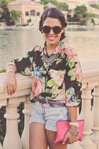 floral print Forever 21 shirt - clutch Forever 21 bag