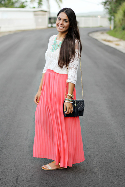 coral pleated maxi Forever 21 skirt - ivory lace Forever 21 blouse