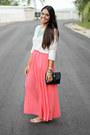 Coral-pleated-maxi-forever-21-skirt-ivory-lace-forever-21-blouse