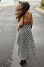 Black-buckle-shoedazzle-wedges-black-floral-print-forever-21-dress