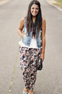 Charcoal-gray-floral-print-forever-21-pants-white-peplum-top-zara-top