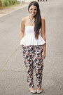 White-peplum-top-zara-top-charcoal-gray-floral-print-forever-21-pants