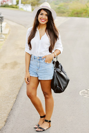 white fedora Zara hat - white H&M shirt - light blue Bullhead shorts