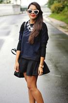black mermaid Zara skirt - navy Zara sweater - white Topshop sunglasses