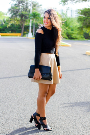 black clutch Zara bag - tan skater Forever 21 skirt - black Shoedazzle heels
