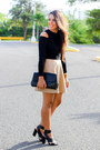 Black-clutch-zara-bag-black-shoedazzle-heels-tan-skater-forever-21-skirt