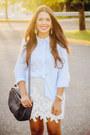 Navy-zara-bag-light-blue-button-down-old-navy-shirt-silver-lace-zara-skirt