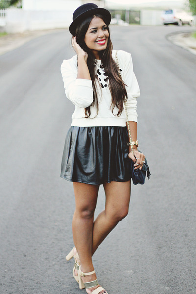 Black Leather Skirts, Black H&M Hats, Ivory Leopard Print LA ...