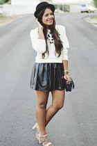 black leather skirt - black H&M hat - ivory leopard print LA hearts sweater