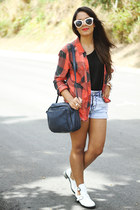 white ankle boots - red Nollie shirt - navy Zara bag - black Zara top