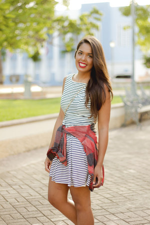 navy Zara dress - ruby red plaid Nollie shirt - white Converse sneakers
