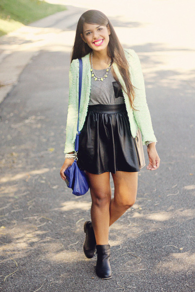 black leather skirt - aquamarine Zara blazer - heather gray top