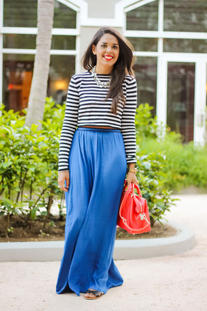coral Zara bag - blue maxi Zara skirt