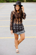 black lace LA hearts top - black aztec print LA hearts shorts