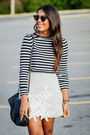 Silver-lace-zara-skirt-black-striped-zara-top-white-zara-sandals