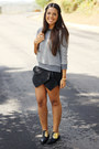 Gray-zara-sweater-black-envelope-sheinside-shorts