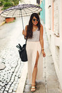 Off-white-with-slit-zara-skirt-silver-forever-21-top