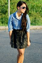 black Forever 21 skirt - blue Charlotte Russe top - beige Urban Outfitters shoes