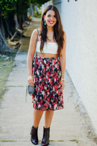 brick red Forever 21 skirt - crimson Zara boots - white cropped Zara top