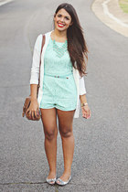 aquamarine lace Forever 21 romper - ivory Forever 21 cardigan