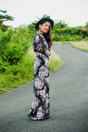 black ankle Forever 21 boots - black maxi floral Forever 21 dress