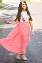 coral pleated maxi Forever 21 skirt - silver Zara t-shirt