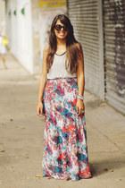 bubble gum maxi floral LA hearts skirt - silver Forever 21 top