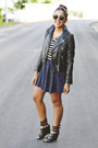 Black-faux-leather-h-m-jacket-black-shoedazzle-wedges-navy-tartan-zara-skirt