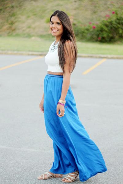 blue maxi Zara skirt - white sheer back Zara top - silver baublebar necklace
