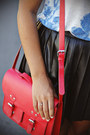 Sky-blue-floral-zara-top-ruby-red-satchel-h-m-bag