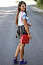 sky blue floral Zara top - ruby red satchel H&M bag