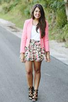salmon aztec Zara jacket - black lace up Zara heels - white Zara top