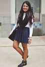 Black-cut-out-black-poppy-boots-white-zara-top-navy-tartan-zara-skirt