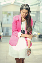 white Zara dress - bubble gum Zara blazer - black Zara belt