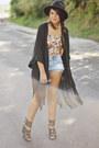 Black-fedora-forever-21-hat-black-fringed-kimono-forever-21-vest