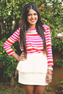 Hot-pink-striped-forever-21-blouse-white-peplum-zara-skirt