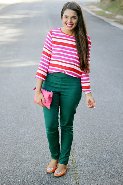 hot pink Forever 21 bag - teal high waisted H&M pants