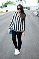 high waisted Zara leggings - satchel Steve Madden purse - Converse sneakers