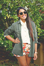Olive-green-zara-top-carrot-orange-floral-print-shorts