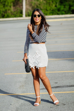 white Zara sandals - black striped Zara top - silver lace Zara skirt
