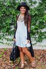Light-blue-brandy-melville-dress-black-forever-21-hat