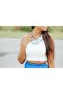 Blue-maxi-zara-skirt-white-sheer-back-zara-top-silver-baublebar-necklace