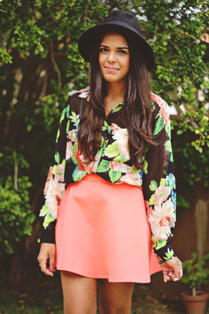 light pink Forever 21 blouse - black Forever 21 hat - coral Forever 21 skirt