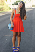 blue Steve Madden bag - carrot orange Zara dress - blue Forever 21 wedges